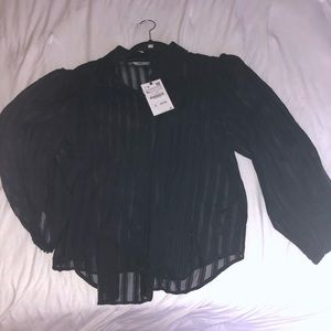 Zara button up sheer stripe black blouse